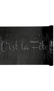 Chemin de table C'est la fête noir 28 cm x 5 m