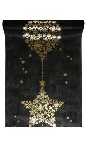 Chemin de table Flocon noir 30 cm  x  5 m