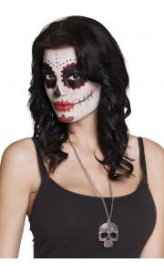 Collier Catrina forme tête de mort en métal Halloween
