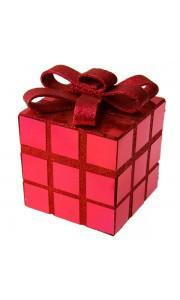 Cube rouge décoration Noël