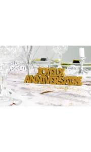 Décoration de table Joyeux Anniversaire or + 2 étoiles 3D- A poser