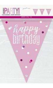 Guirlande fanions joyeux anniversaire rose gold