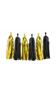 Guirlande tassel noir et or x 12