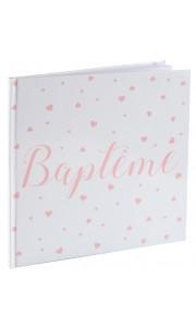 Livre d'or Baptême rose 24 x 24 cm