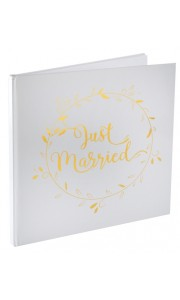 Livre d'or Just Married lettres or 24 x 24 cm