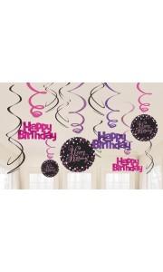 Lot de 12 Guirlandes spirale Sparkling Celebration roses Happy Birthday