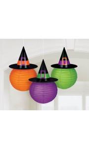 Lot de 3 Lanternes chapeau de sorcière Halloween