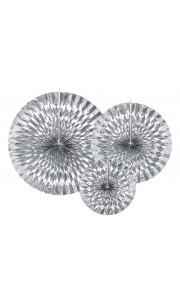 Lot de 3 Rosettes argent 23,32,40 cm