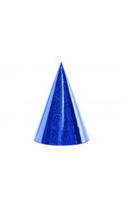 Lot de 6 Chapeaux pointus bleus holographiques 16 cm