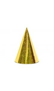 Lot de 6 Chapeaux pointus or holographiques 16 cm