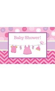 Lot de 8 cartes invitation Baby Shower fille - 16 x 11 cm