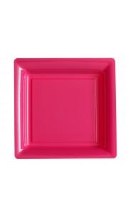 Lot de 12 assiettes carrées jetables rose vif MM