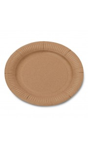 Lot de 12 assiettes jetables en carton kraft D 23 cm