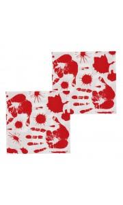 Lot de 12 serviettes jetables sanglantes Halloween 33 x 33 cm