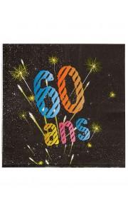 Lot de 16 serviettes jetables en papier Sparkling Celebration 60 ans 33x 33 cm