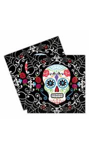 Lot de 20 serviettes jetables Jour des morts Halloween  33 x 33 cm
