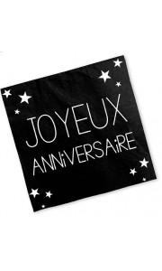 Lot de 24 serviettes jetables Joyeux Anniversaire noir pur 3 plis