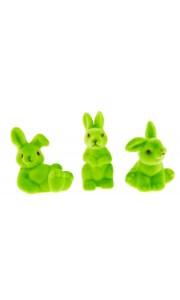 Lot de 3 lapins flockés tilleul PM