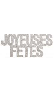 Lot de 6 Confettis de table Joyeuses fêtes blanc pailleté