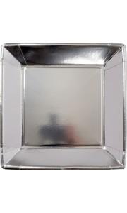 Lot de 8 assiettes carrées jetables en carton argent