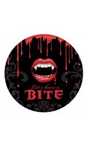 Lot de 8 assiettes jetables bouche de vampire Halloween D 23 cm