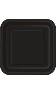 Lot de 8 assiettes réutilisables carrées noir 21,5 cm