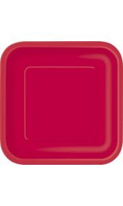 Lot de 8 assiettes jetables carrées rouge 21,5 cm