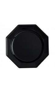 Lot de 8 assiettes plastiques réutilisables octogonales noir 24 cm
