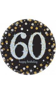 Lot de 8 assiettes jetables Sparkling Celebration 60 ans en carton D 23 cm