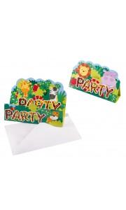 Lot de 8 cartes d'invitation Jungle avec enveloppe