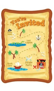 Lot de 8 cartes invitation Pirate Party avec enveloppe