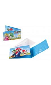 Lot de 8 cartes invitation Super Mario avec enveloppe