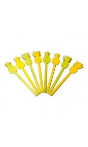 Lot de 8 pics ananas bois jaune et vert 23 cm