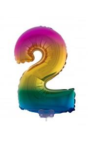 Mini Ballon chiffre 2 aluminium multicolore