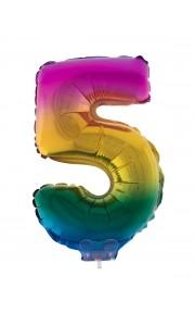 Mini Ballon chiffre 5 aluminium multicolore