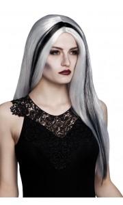 Perruque Aurora grise mèche noire  Halloween