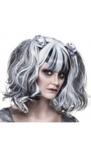Perruque Zombie femme Halloween grise avec roses