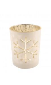 Photophore flocon blanc/champagne 8 x 7 cm