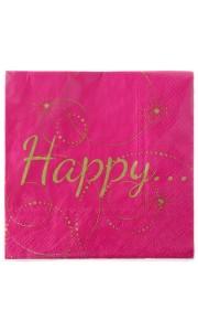 Lot de 20 serviettes Happy en papier fuschia 33 x33 cm