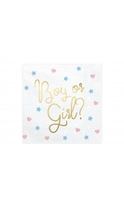 Lot de 20 serviettes Boy or Girl Gender Reveal party 33 x 33 cm
