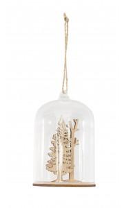 Suspension Noël forêt bois dans verre 6,7 x 6,7 x 10,6 cm