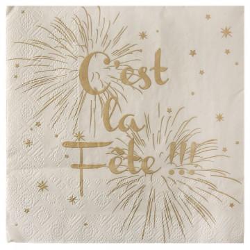 Lot de 20 serviettes papier C'est la fête ivoire 33 x 33 cm