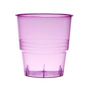 Lot de 10 verres jetables en plastique fuschia transparent