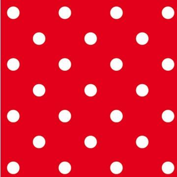 Lot de 20 serviettes intissé  rouge vif à pois 40 x 40 cm