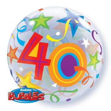 Ballon Bubble 40 ans Etoiles 55 cm