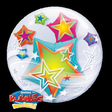 Ballon Bubble Etoiles multicolores  60 cm