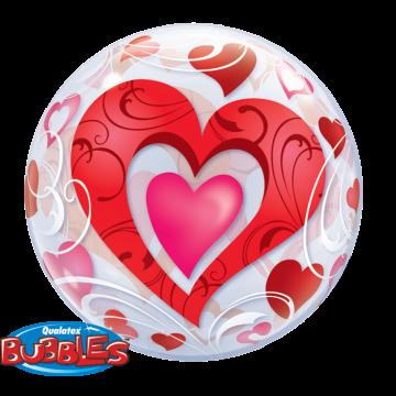 Ballon Cœurs rouges et filigrane 55 cm