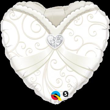 Ballon forme Cœur Robe de mariée 45 cm