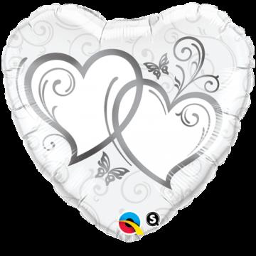 Ballon forme Cœurs entrelacés Argent 45 cm