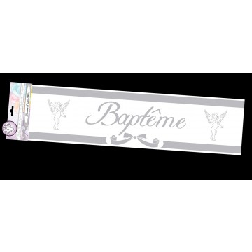 Bannière Baptême argentée